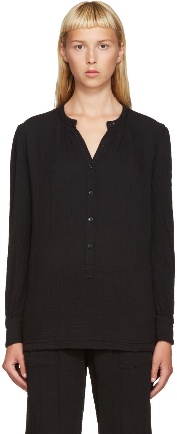 Raquel Allegra Black Henley Shirt