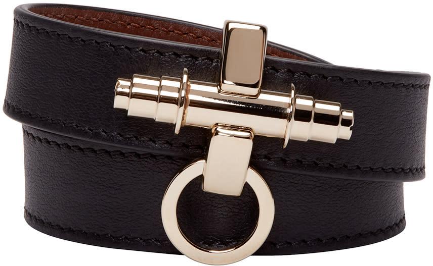 Givenchy Black Leather Obsedia Bracelet
