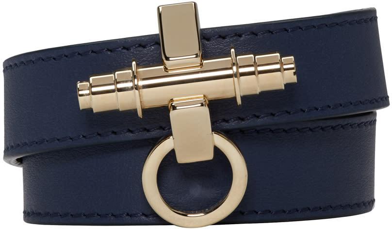 Givenchy Navy Leather Obsedia Bracelet