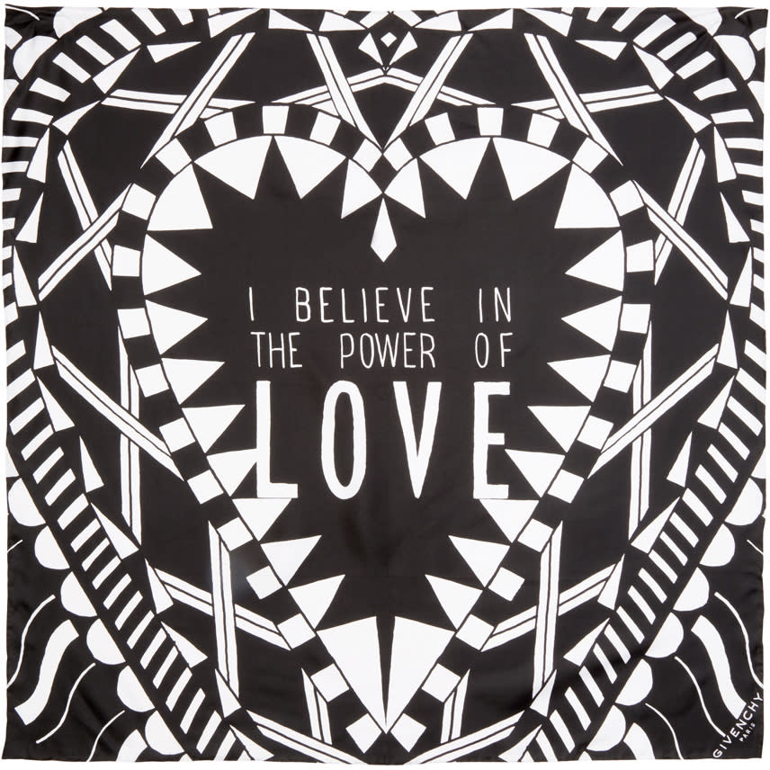 Givenchy Black Silk Power Of Love Scarf