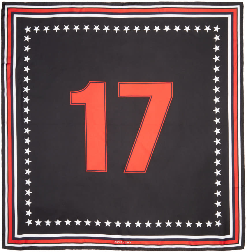 Givenchy Black Silk 17 Scarf