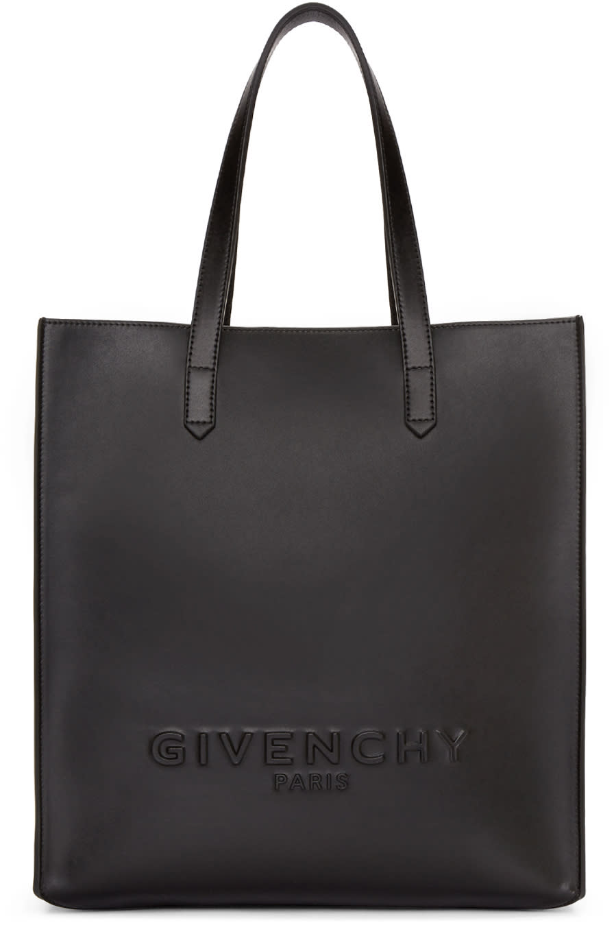 Givenchy Black Leather Debossed Tote
