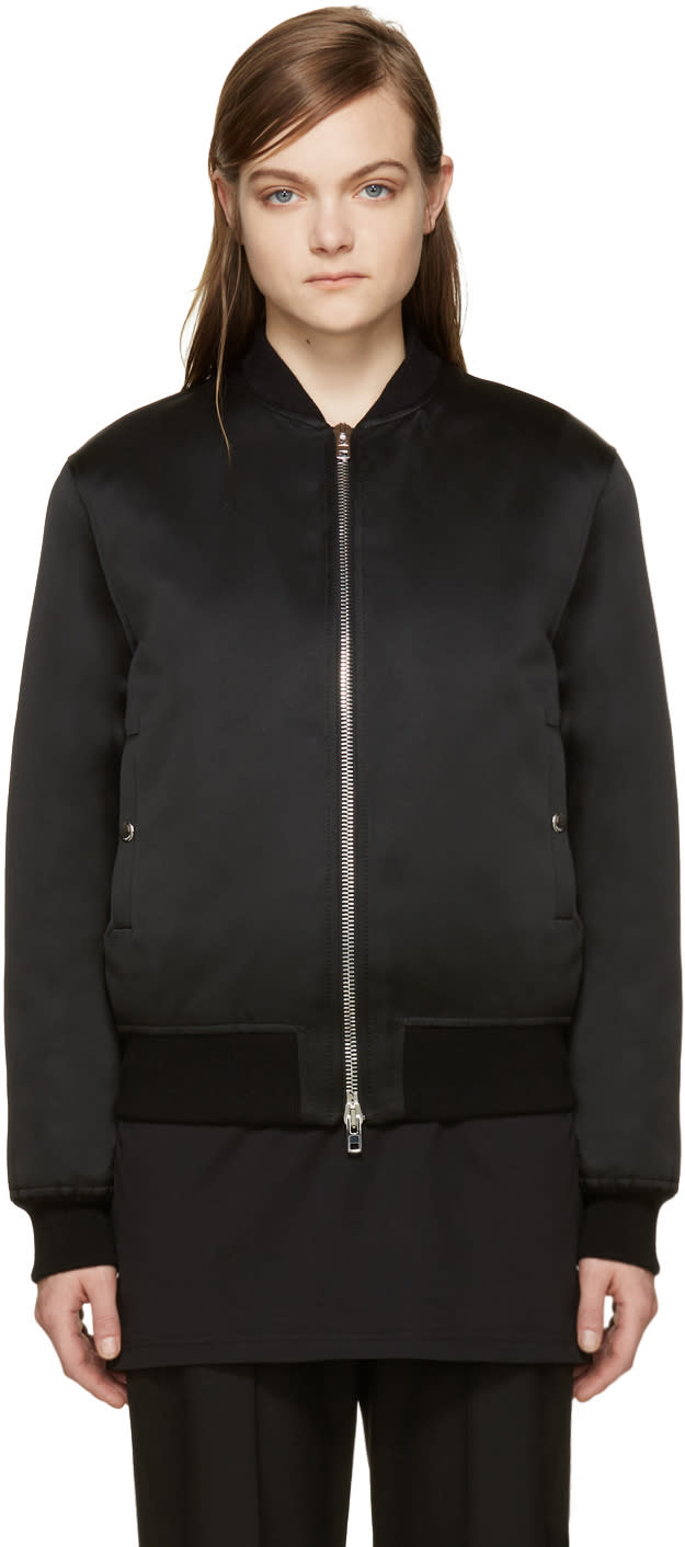 Givenchy Black Satin Bomber Jacket