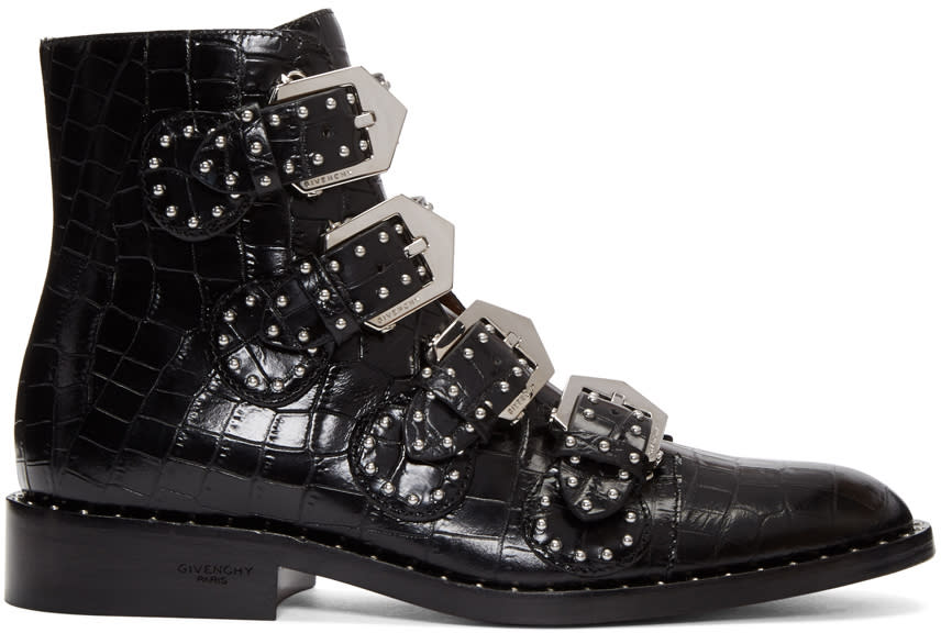Givenchy Black Croc-embossed Ankle Boots