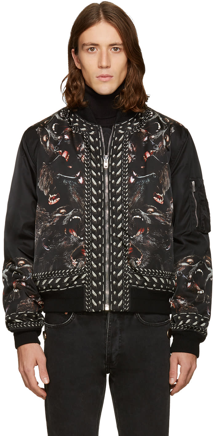 Givenchy Black Monkey Brothers Bomber Jacket