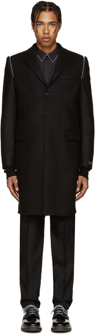 Givenchy Black Wool Zippered Coat