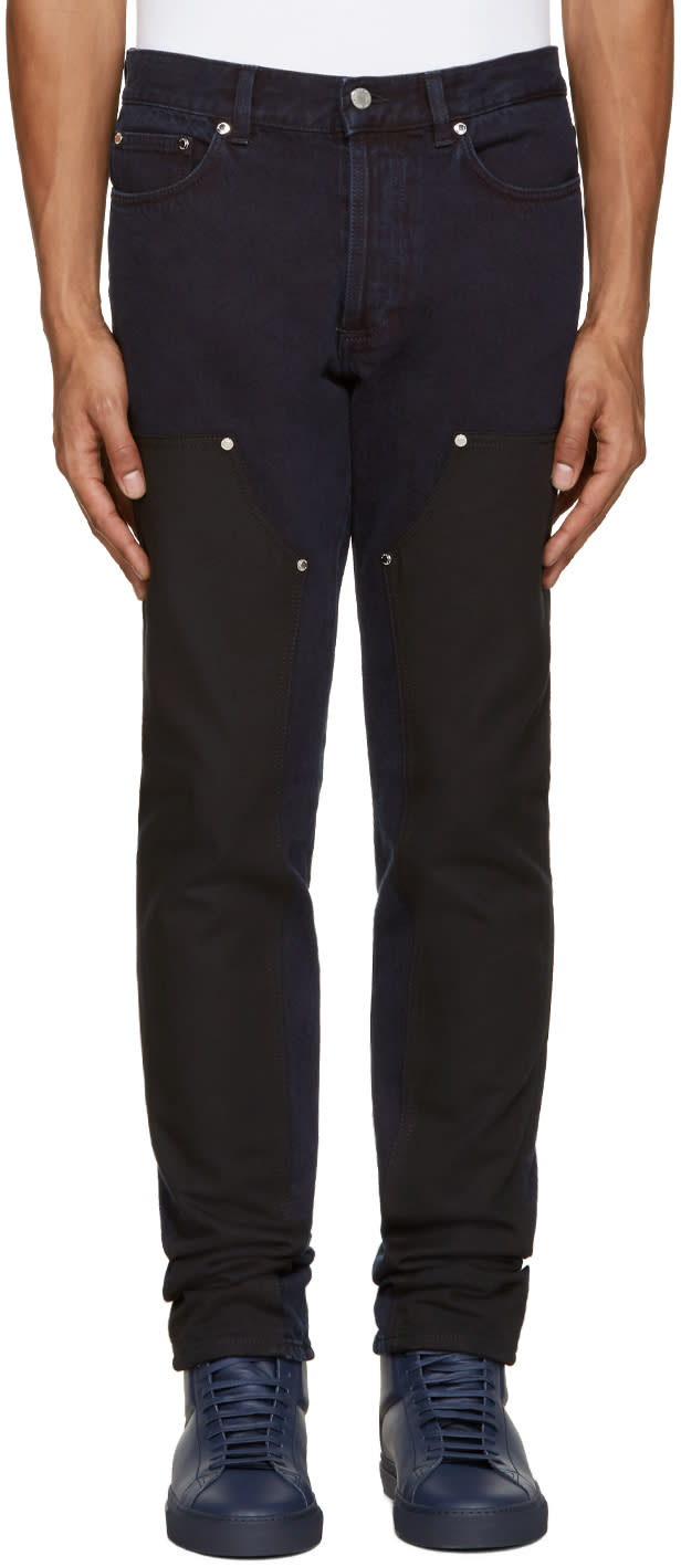 Givenchy Blue and Black Panel Jeans