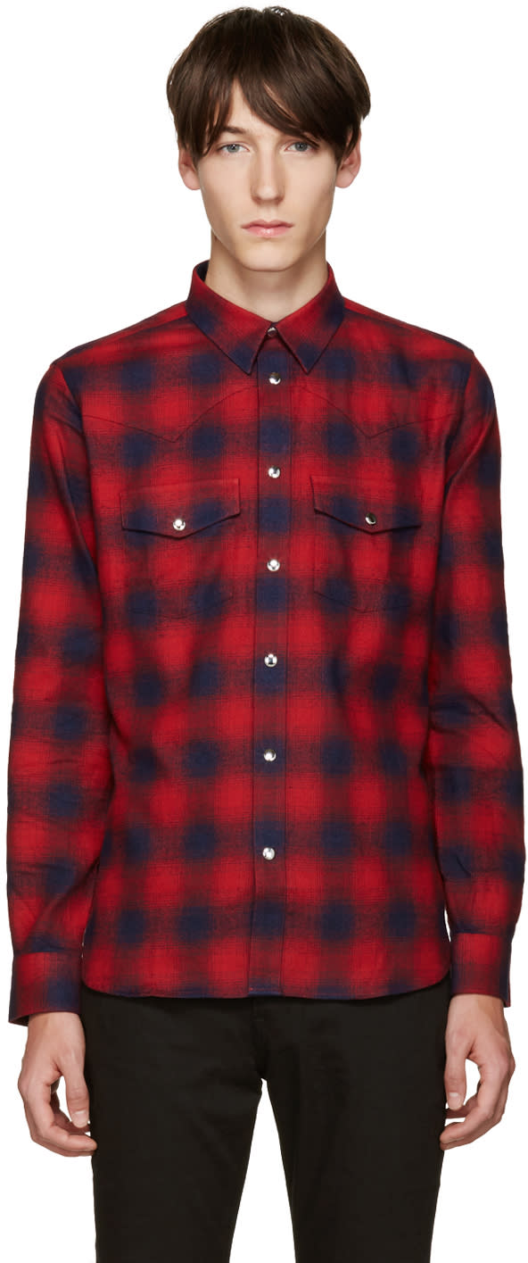 Givenchy Red Plaid Shirt
