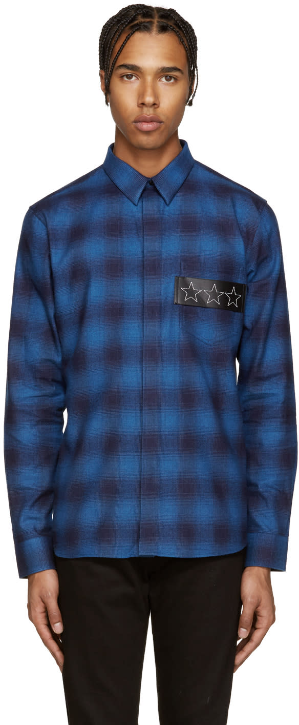 Givenchy Blue Plaid Stars Shirt