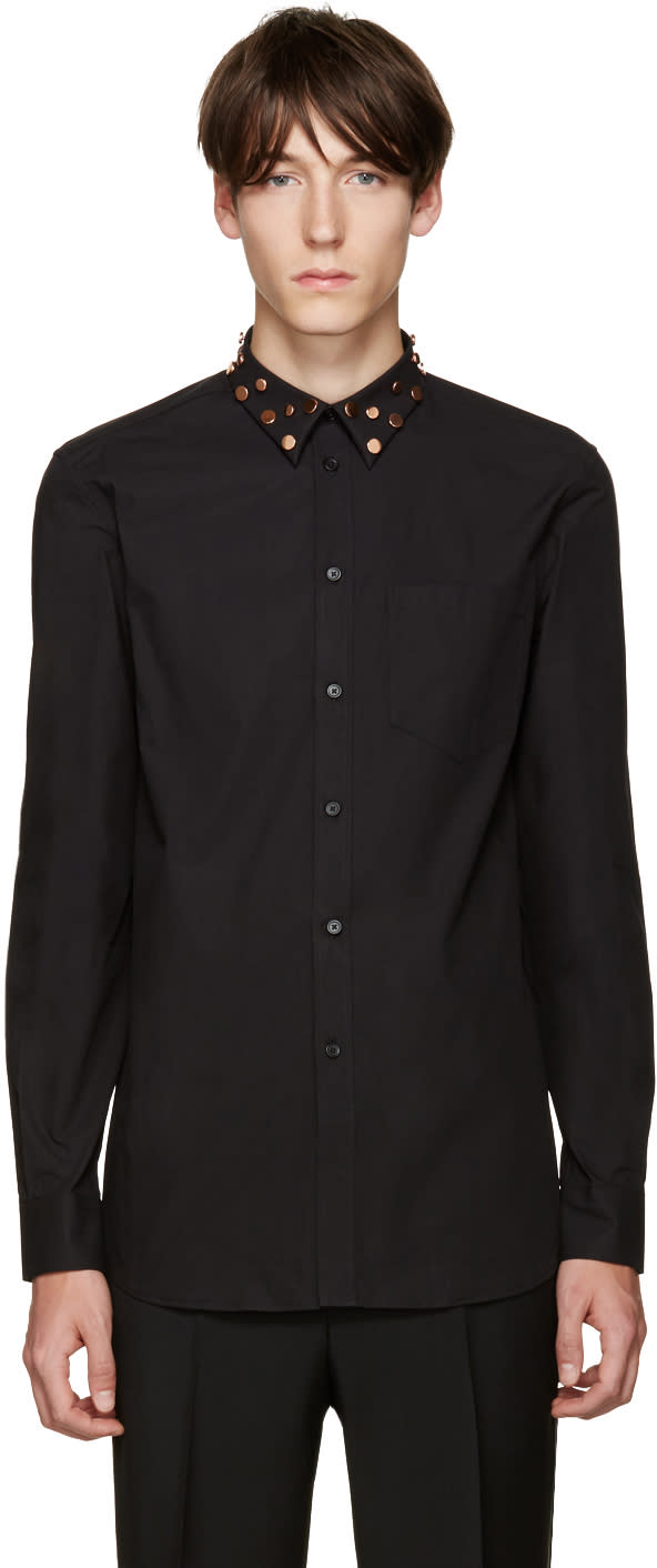 Givenchy Black Studded Collar Shirt