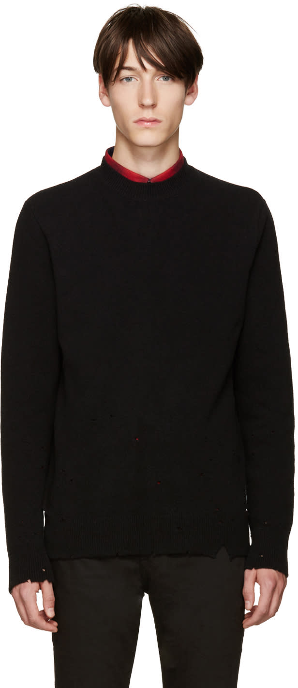Givenchy Black Wool Destroyed Sweater