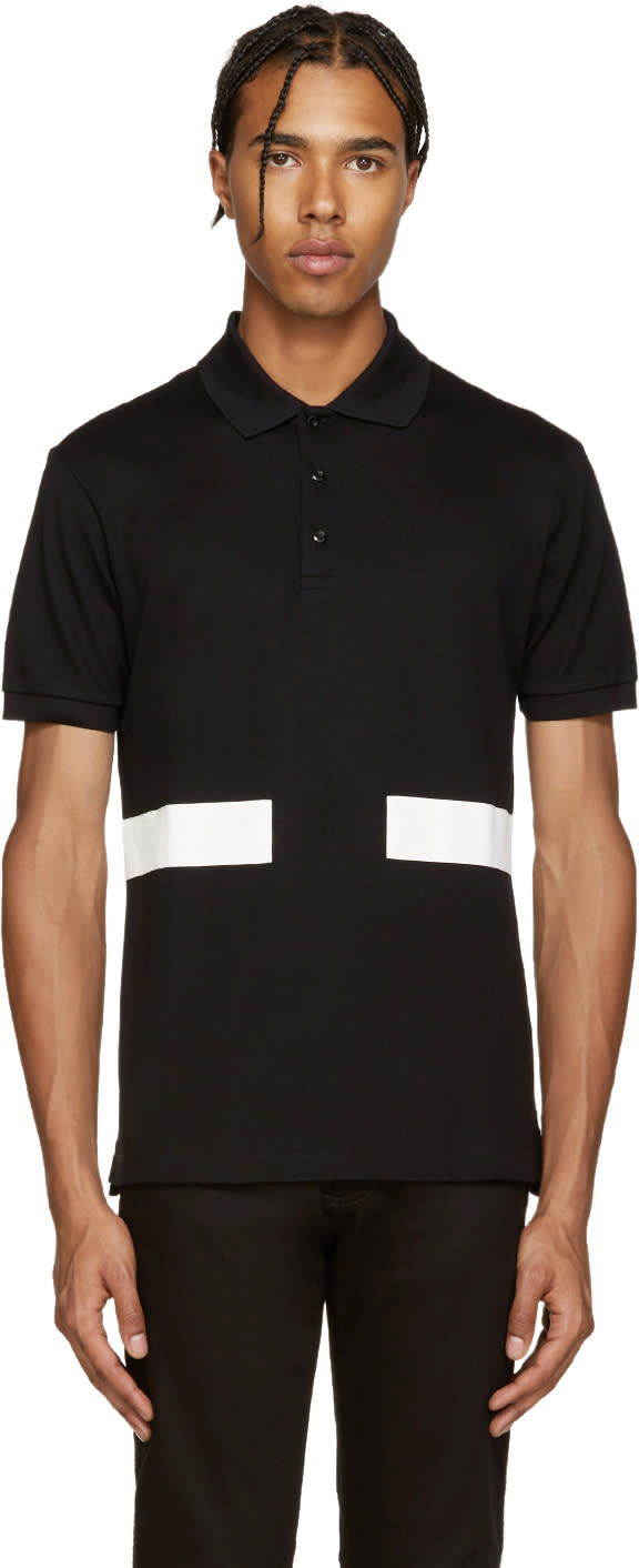 Givenchy Black and White Bands Polo
