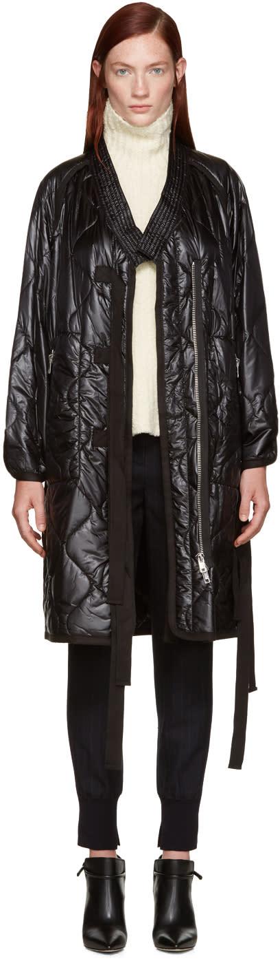 3.1 Phillip Lim Black Quilted Kimono Coat