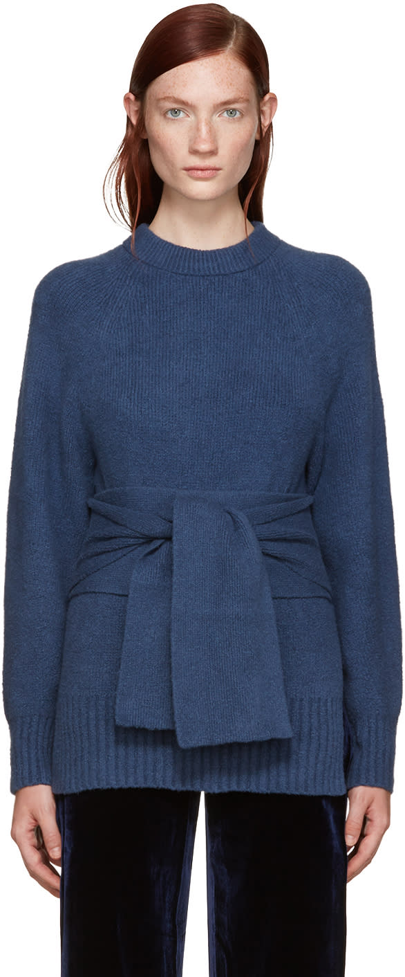 3.1 Phillip Lim Blue Obi Belt Sweater