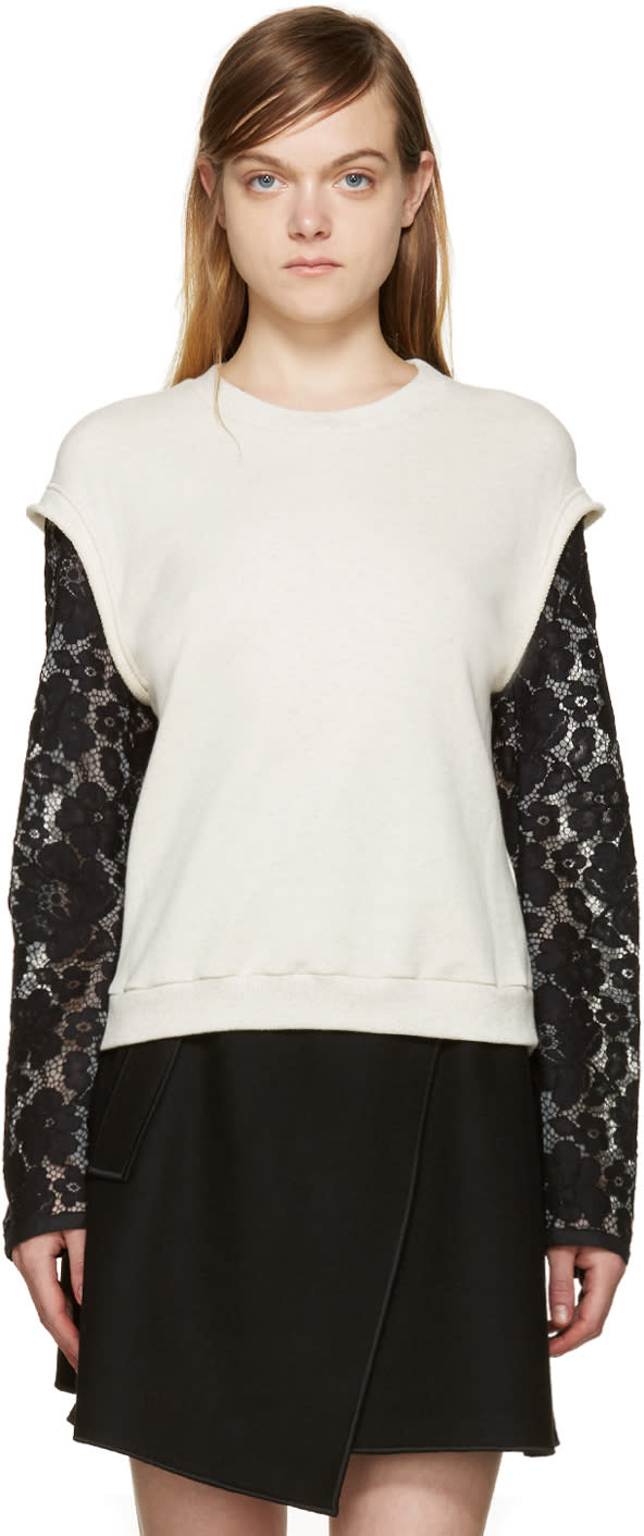 3.1 Phillip Lim Cream and Black Lace Sleeve Pullover at ssense.com men and women fashion