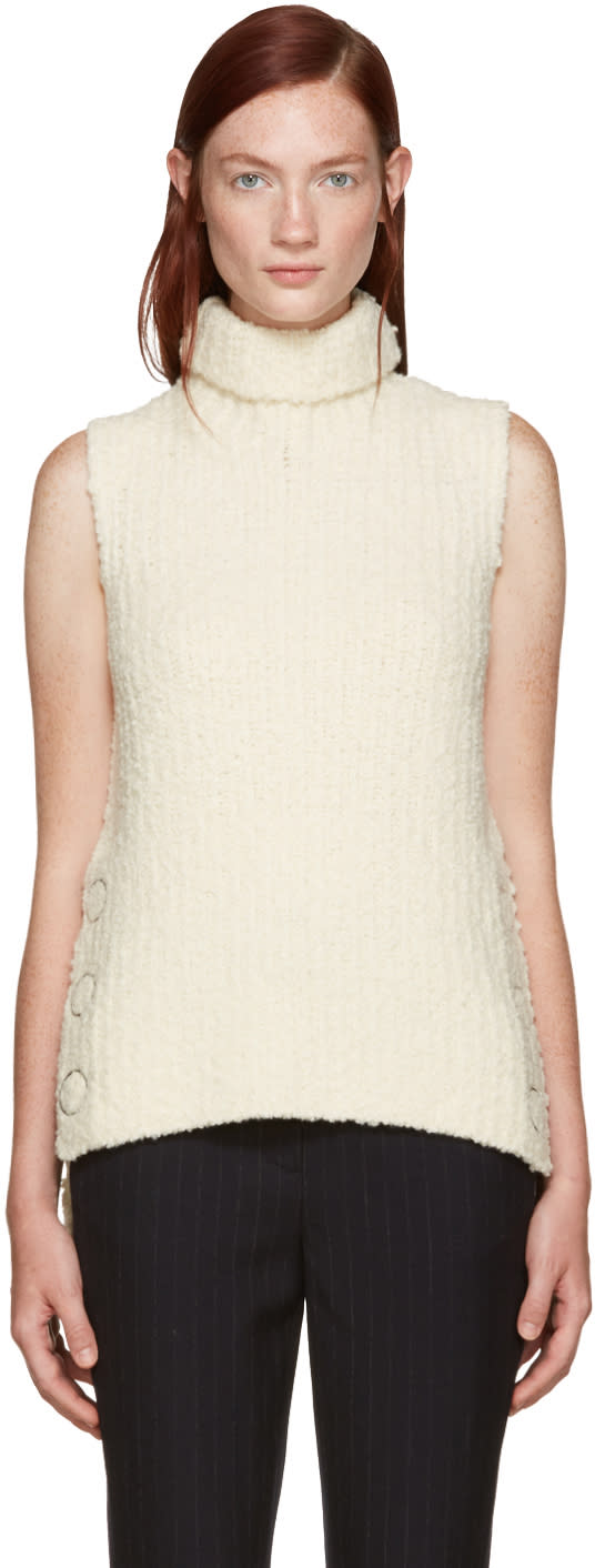 3.1 Phillip Lim Ivory Textured Wool Turtleneck