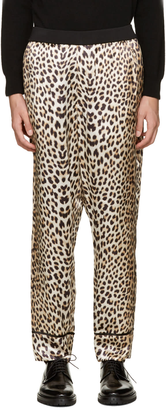3.1 Phillip Lim Beige Reversible Leopard Trousers