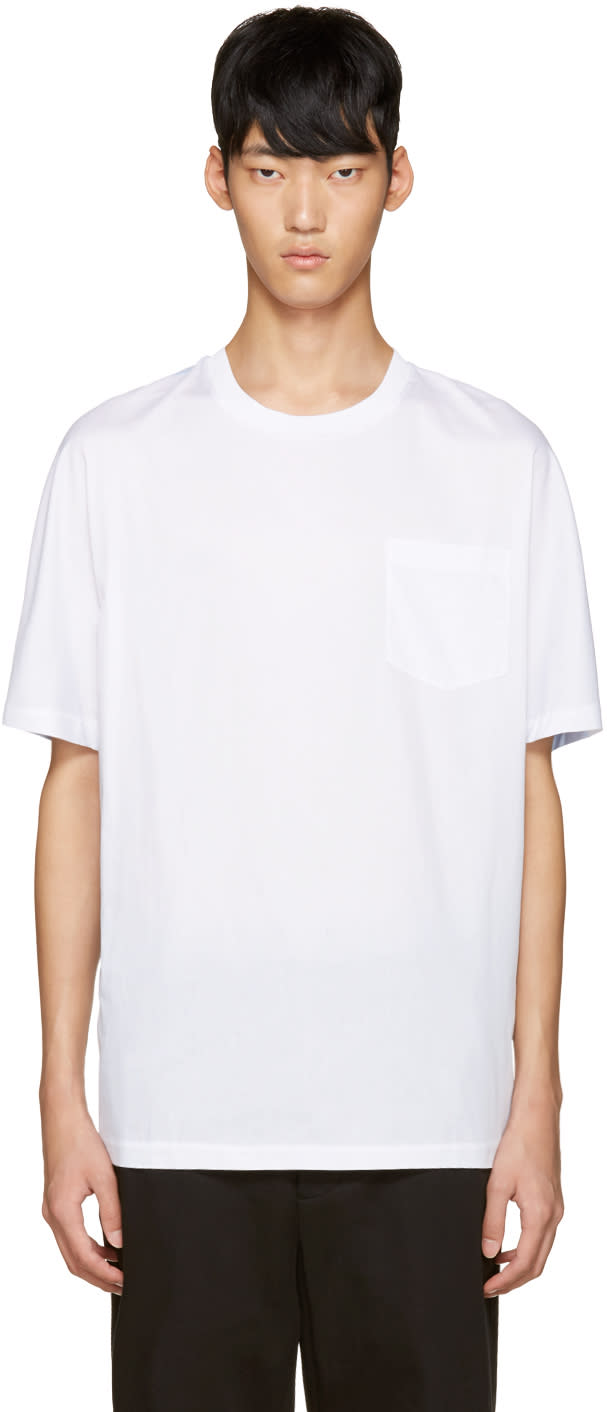 3.1 Phillip Lim White and Blue Dolman T-shirt