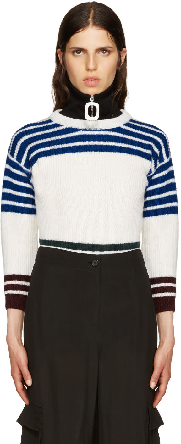 Raf Simons White Wool Stripes Sweater