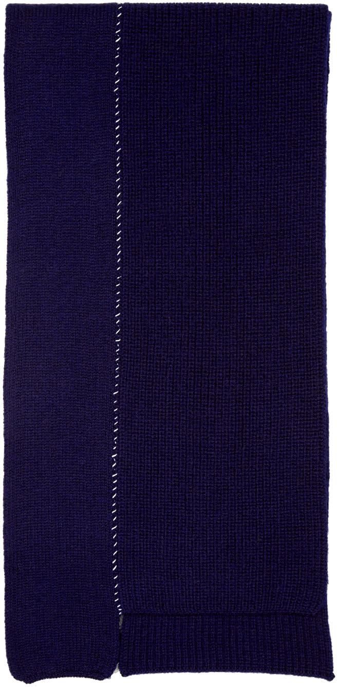 Raf Simons Navy Wool Panelled Scarf