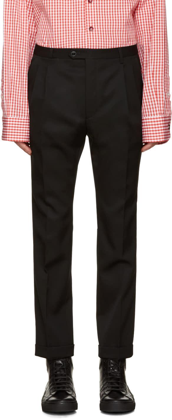 Raf Simons Black Wool Cropped Trousers
