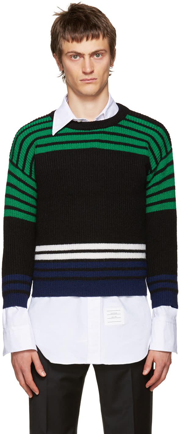 Raf Simons Multicolor Wool Shrunken Sweater