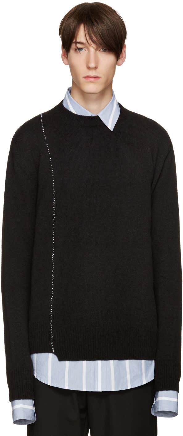 Raf Simons Black Wool Stitched Sweater