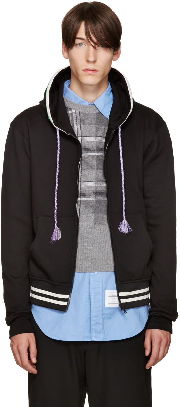 Raf Simons Black Striped Zip Hoodie