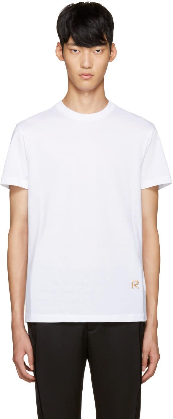 Raf Simons White Embroidered Logo T-shirt