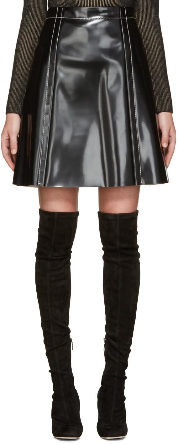 Proenza Schouler Black Coated A-line Skirt