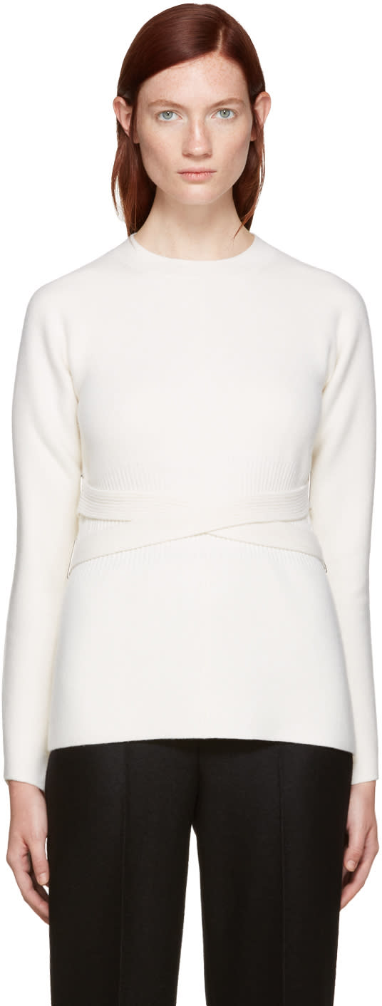 Proenza Schouler Ivory Belted Sweater