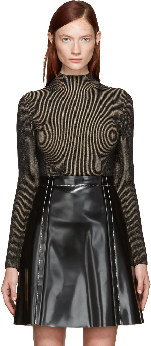 Image of Proenza Schouler Black and Tan Ribbed Turtleneck