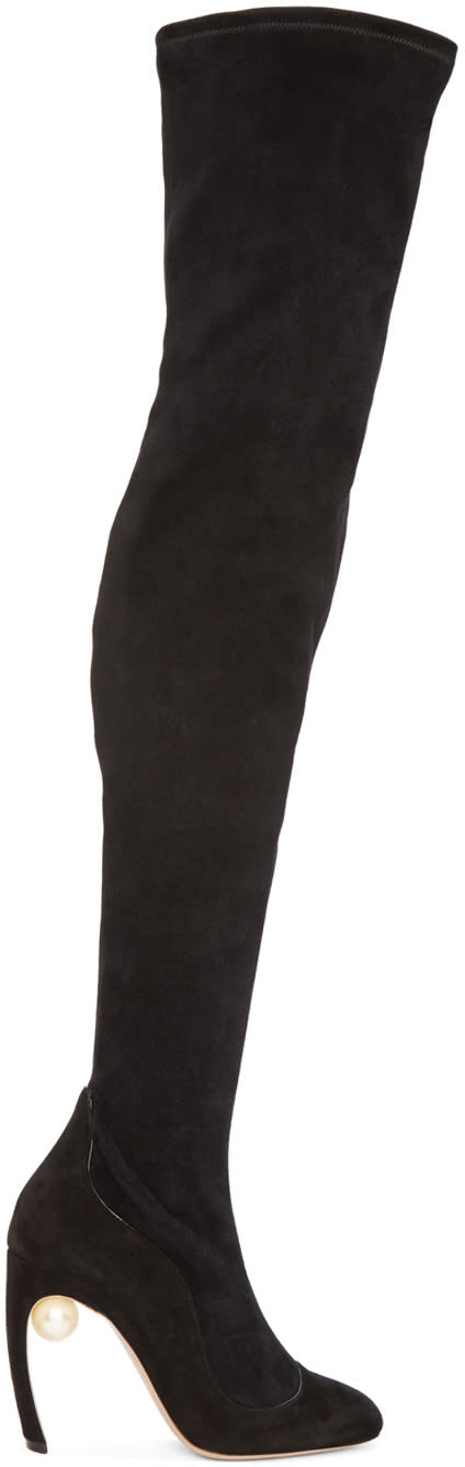 Nicholas Kirkwood Black Suede Over-the-knee Boots