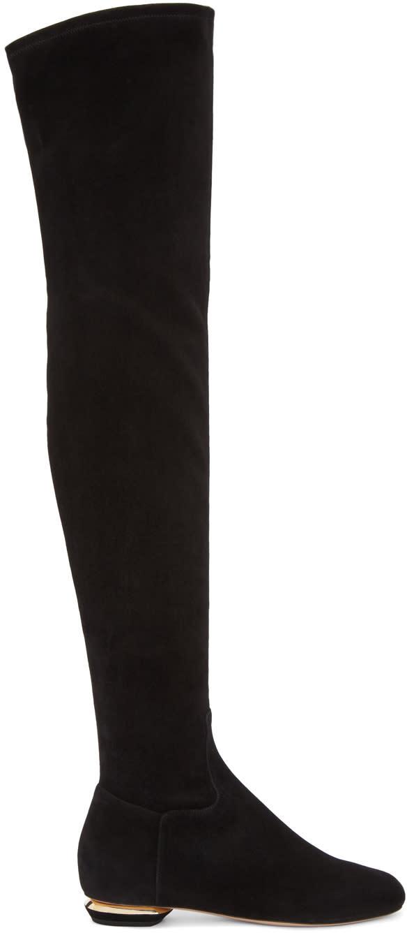 Nicholas Kirkwood Black Suede Beya Over-the-knee Boots