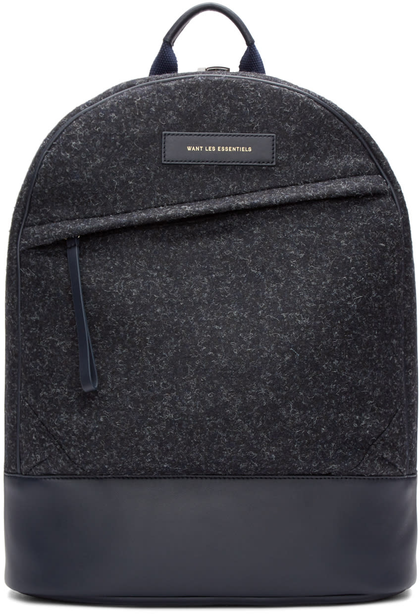 Want Les Essentiels Navy Wool Kastrup Backpack