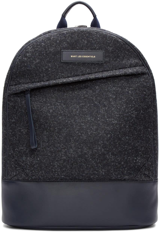 Want Les Essentiels Navy Wool Kastrup Backpack