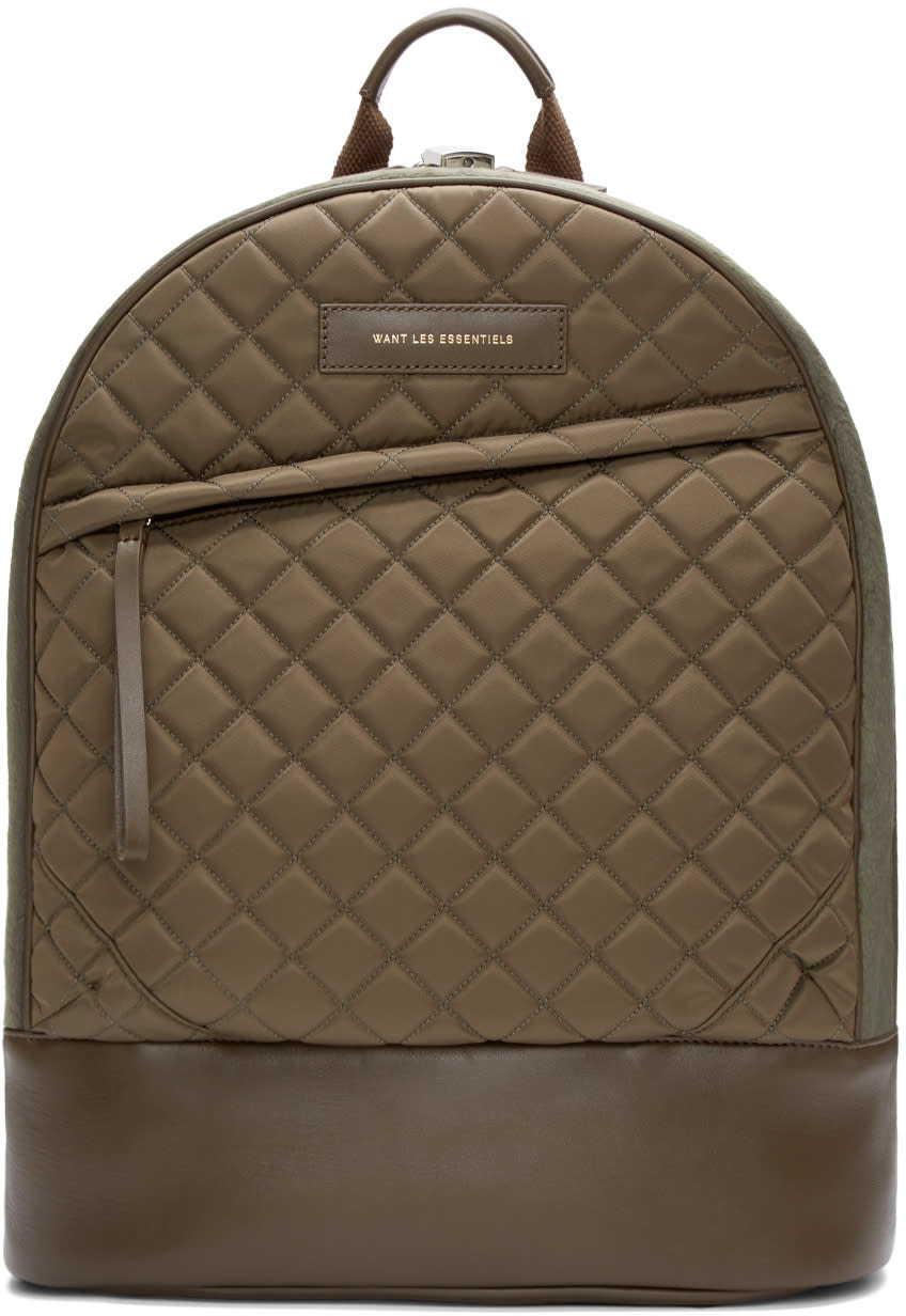 Want Les Essentiels Khaki Quilted Canvas Kastrup Backpack