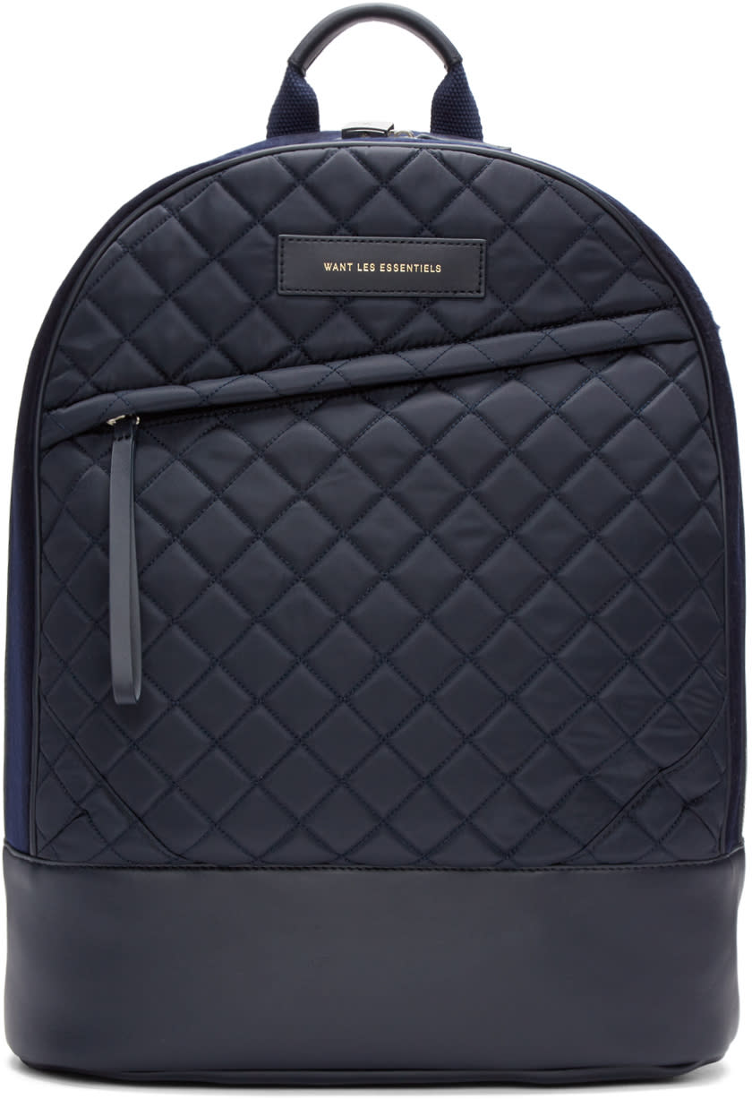 Want Les Essentiels Navy Quilted Canvas Kastrup Backpack