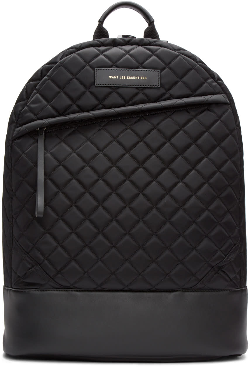 Want Les Essentiels Black Quilted Kastrup Backpack