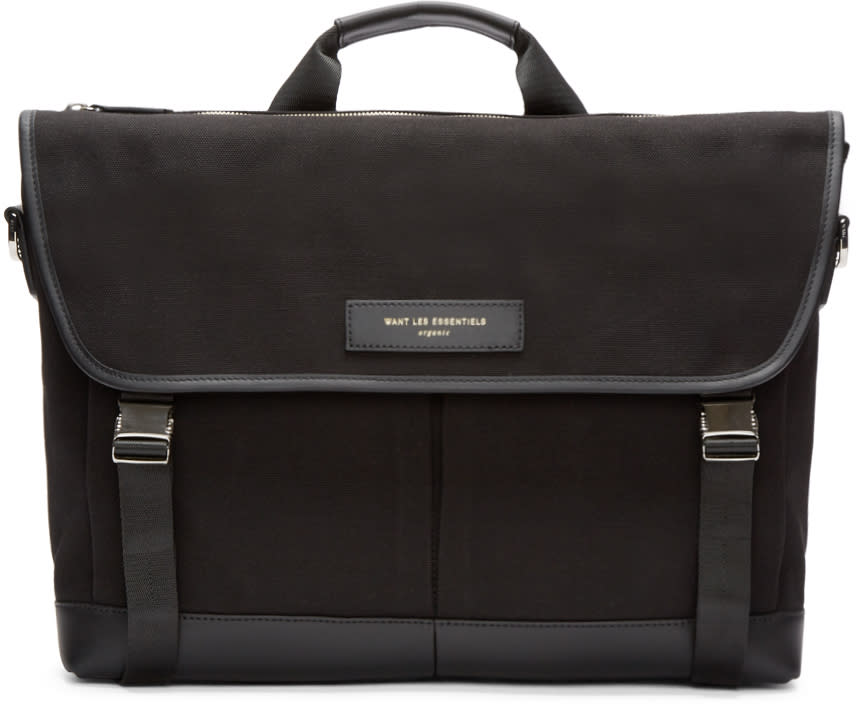 Want Les Essentiels Black Canvas Jackson Messenger Bag