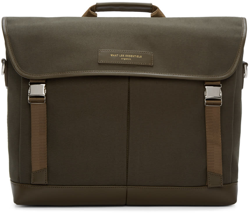 Want Les Essentiels Green Canvas Jackson Messenger Bag