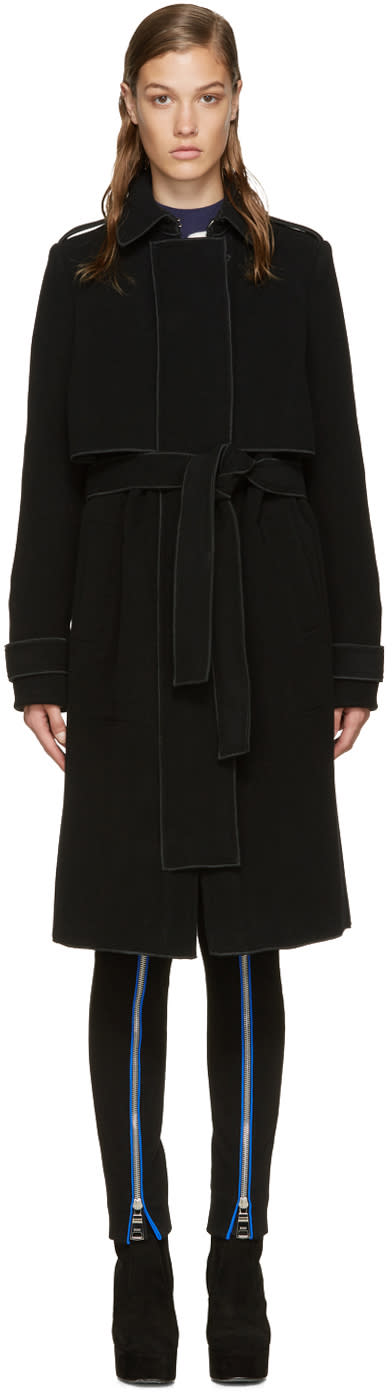Carven Black Wool Trench Coat