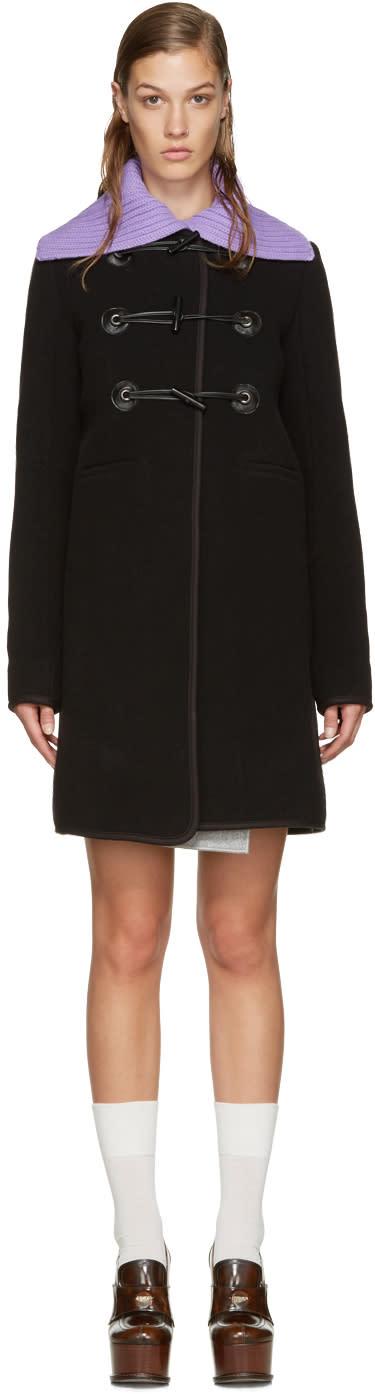 Carven Black Wool Toggle Coat