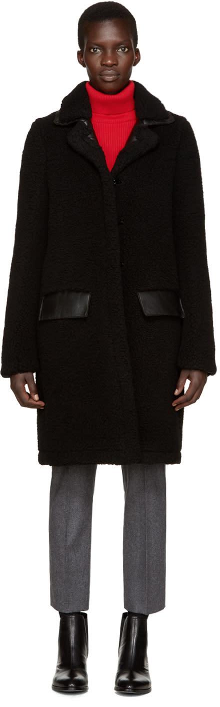 Carven Black Faux Shearling Coat
