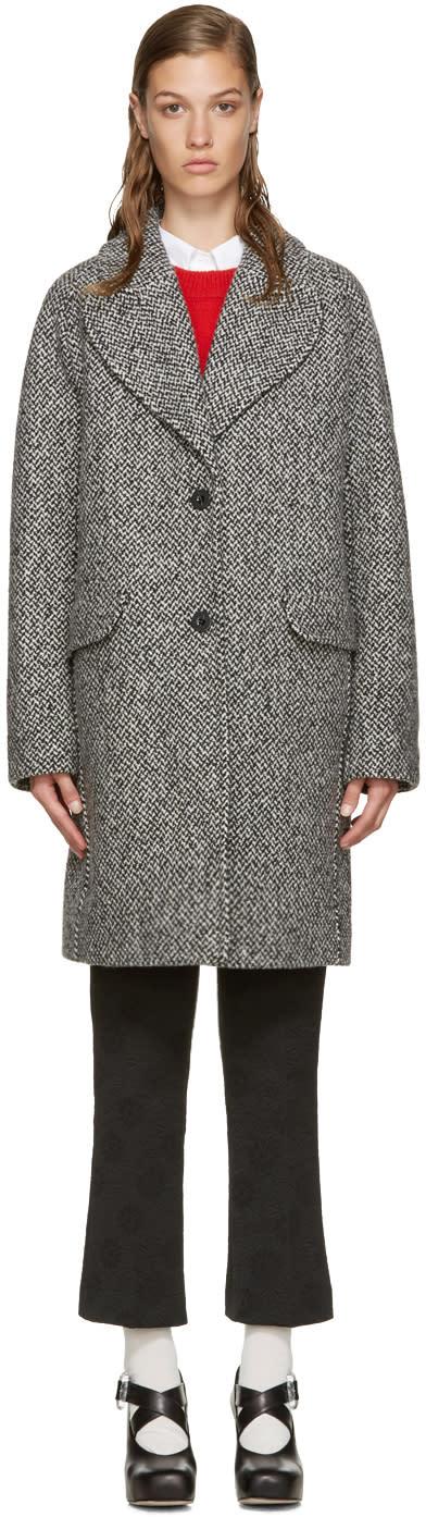 Carven Black and White Tweed Coat
