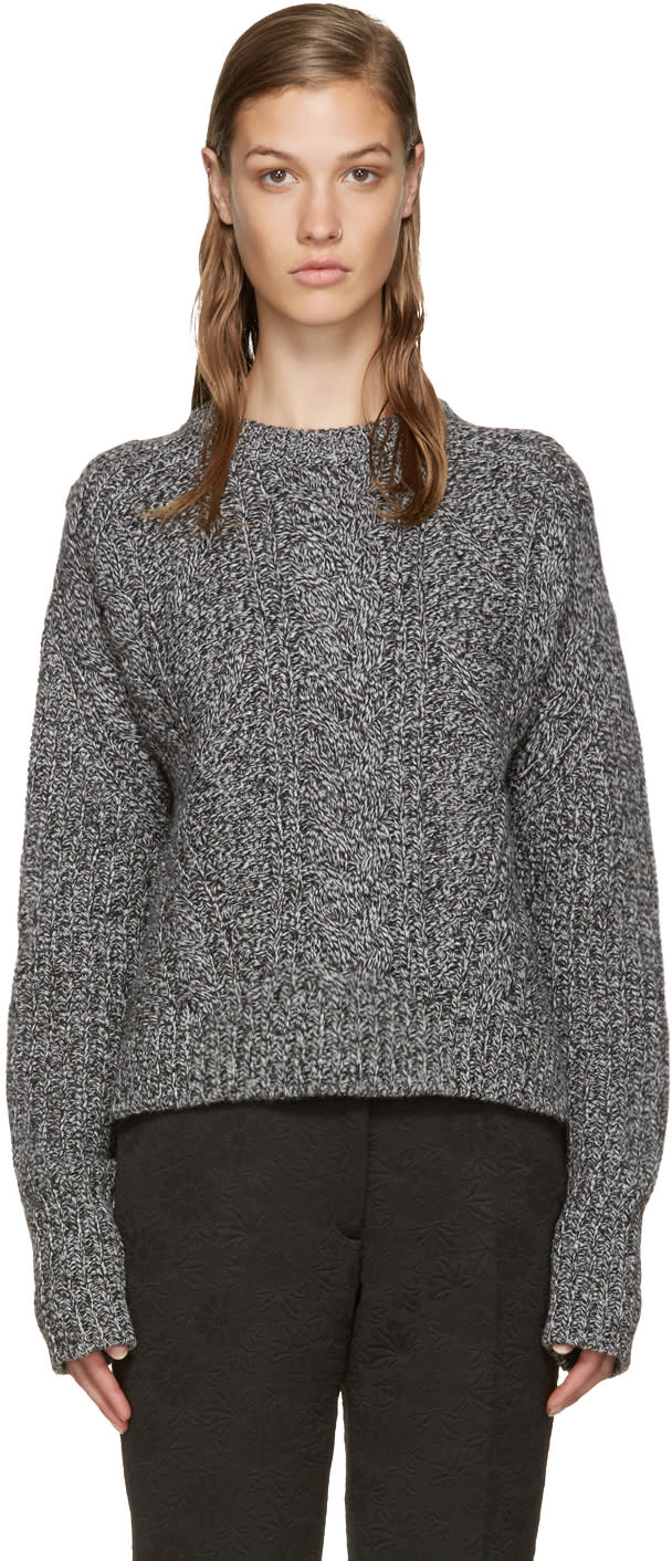 Carven Black and White Cable Knit Sweater