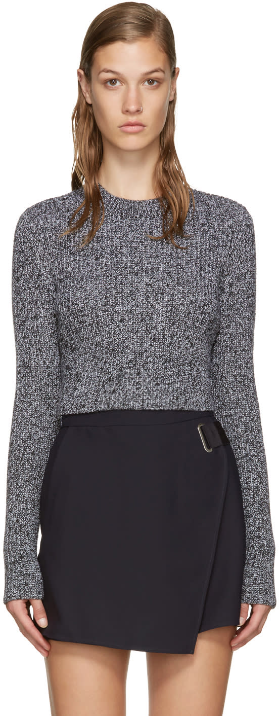 Carven Black and White Cropped Sweater