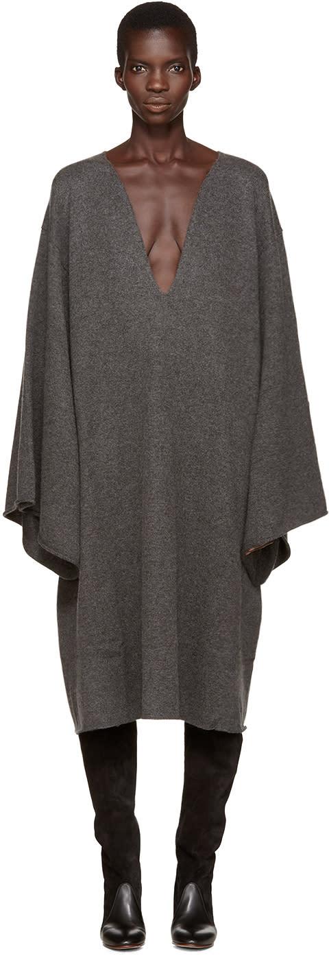Chloe Grey Deep-v Cashmere Dress