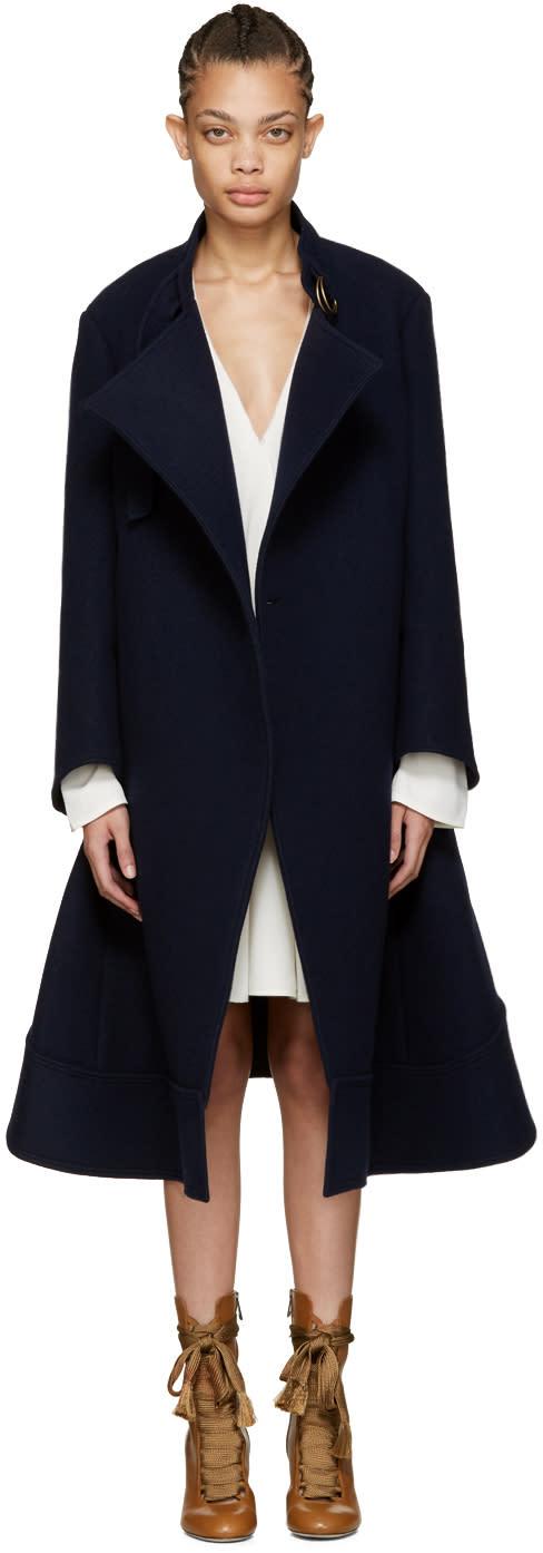 Chloe Navy Oversized Wool Coat