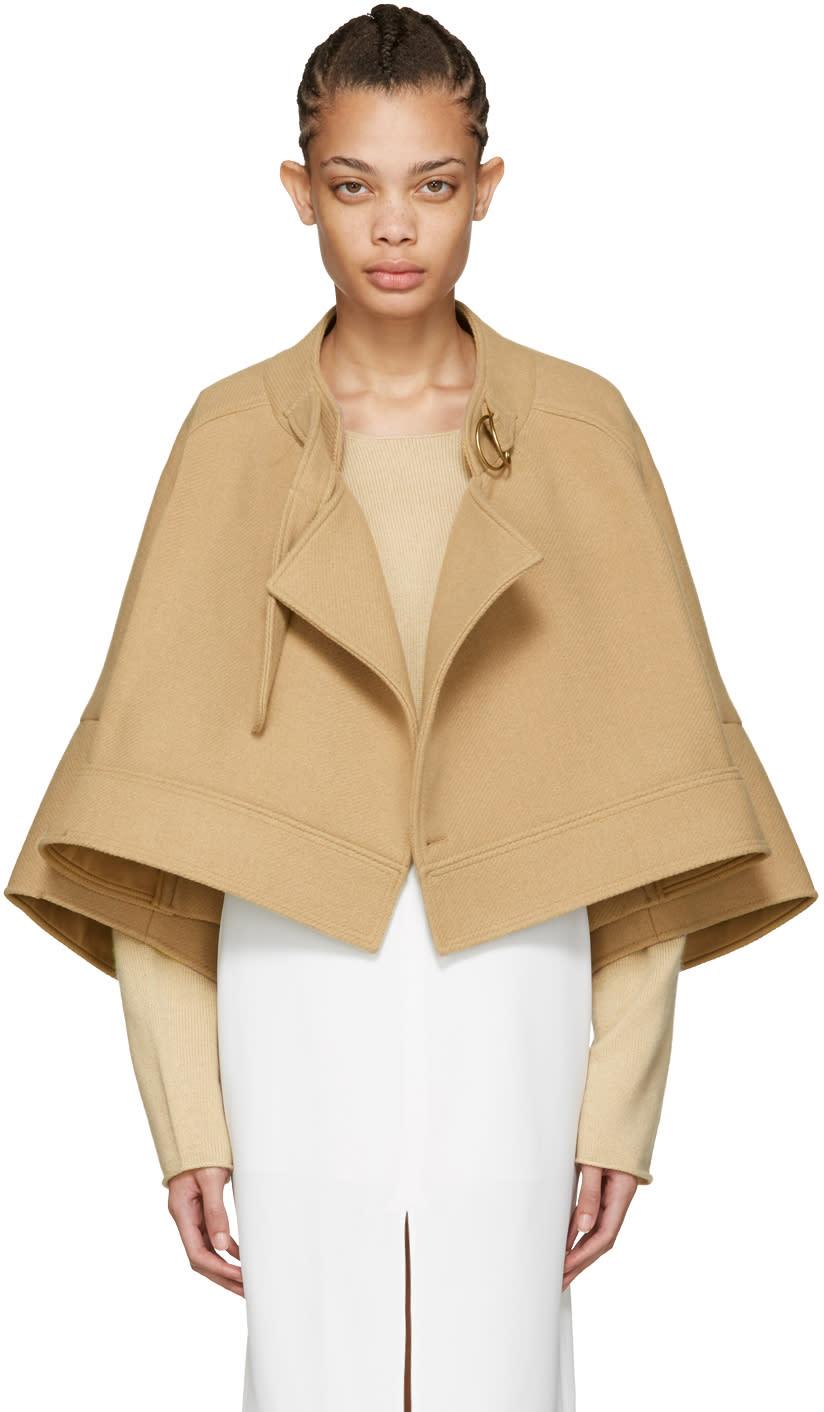Chloe Tan Wool Cape Jacket